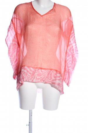 lykkelig Seidenbluse pink-weiß Streifenmuster Casual-Look