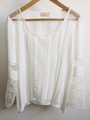 lykkelig Koronkowa bluzka w kolorze białej wełny