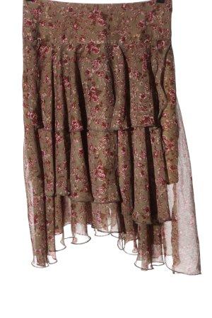 Lysgaard Rozkloszowana spódnica brązowy-różowy Wzór w kwiaty W stylu casual