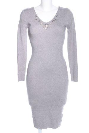 Gebreide jurk lichtgrijs gestippeld casual uitstraling