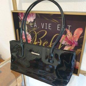 M.C.® - Lackleder -schwarz - Vintage 1990er Schultertasche bag clutch Handtasche