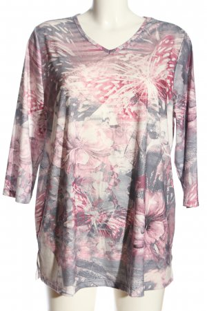 M. Collection Tunikabluse hellgrau-pink Allover-Druck Casual-Look
