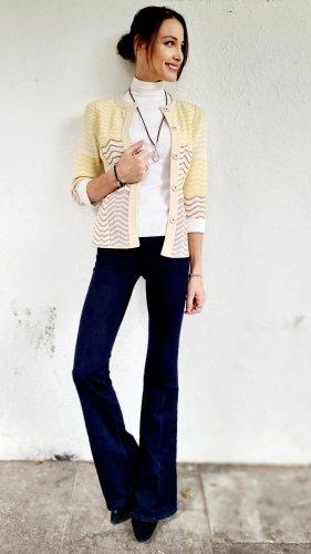 Mih jeans Broek met wijd uitlopende pijpen goud-donkerblauw