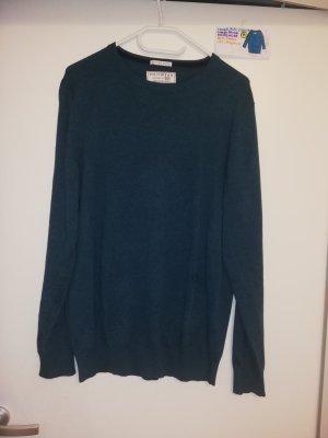 M langärmeliger Pulli grün blau türkis cotton blend knitwear
