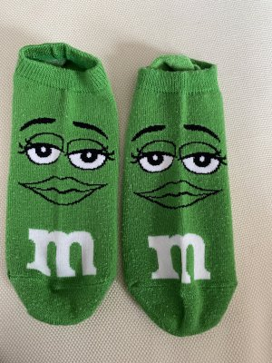 M&M Legwarmers grass green-white