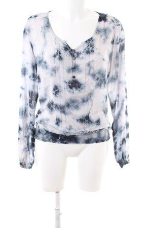 M.O.D. Langarm-Bluse weiß-blau abstraktes Muster Casual-Look