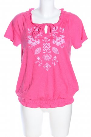 M&S Blusentop pink-weiß abstraktes Muster Casual-Look