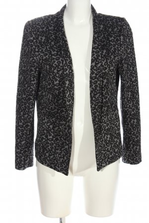 M&S Collection Kurz-Blazer hellgrau-schwarz Allover-Druck Elegant