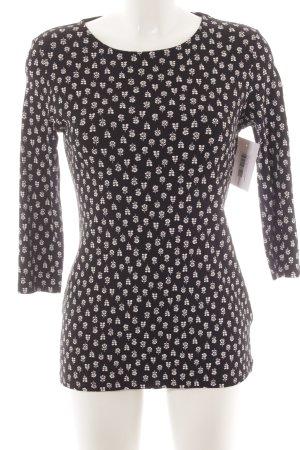 M&S Indigo Collection Longsleeve schwarz-weiß Blumenmuster Casual-Look