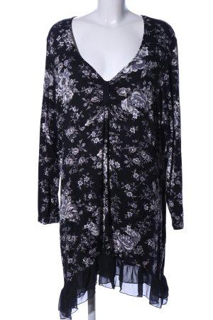 M&S Long-Bluse schwarz-hellgrau Blumenmuster Elegant
