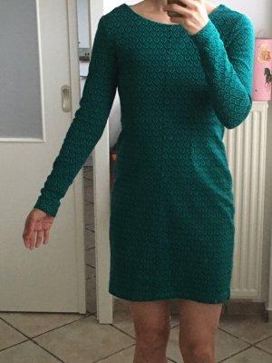 Maas Kleid Langarm Grün-Blau Muster S 36