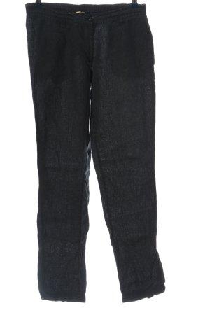 Maas Linnen broek zwart gestippeld casual uitstraling