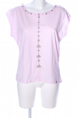 Maas T-Shirt hellgrau-pink grafisches Muster Casual-Look