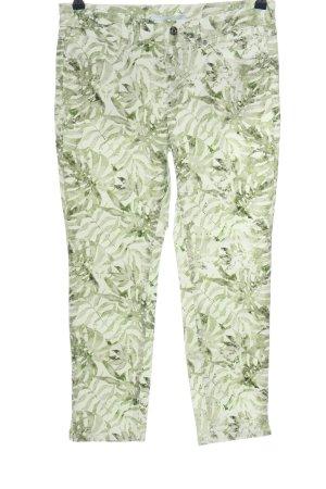 Mac 7/8-Hose weiß-grün abstraktes Muster Casual-Look