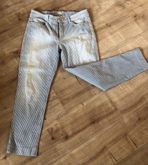 Mac 7/8 Length Jeans blue-white cotton