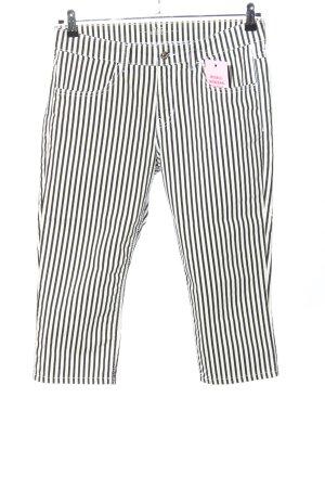 Mac Spodnie Capri biały-czarny Wzór w paski W stylu casual