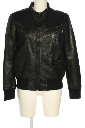 Mac Douglas Skórzana kurtka czarny W stylu casual