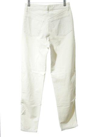 Mac Pantalon taille haute blanc cassé-argenté style décontracté