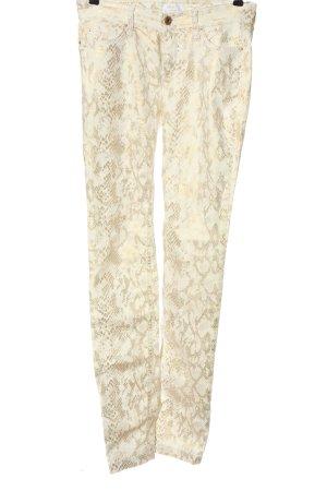 Mac High Waist Jeans wollweiß-goldfarben Animalmuster Glitzer-Optik