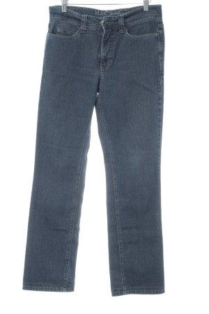 MAC Jeans Boot Cut Jeans stahlblau-graublau Logo-Applikation