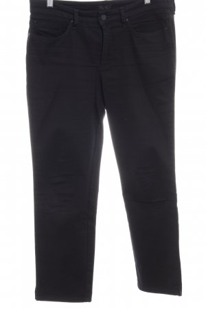 MAC Jeans Five-Pocket-Hose schwarz Logo-Applikation aus Leder