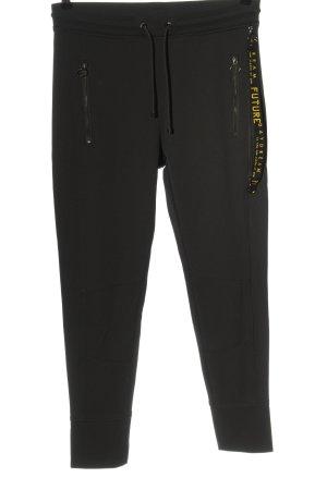 MAC Jeans Stoffhose schwarz Schriftzug gedruckt Casual-Look