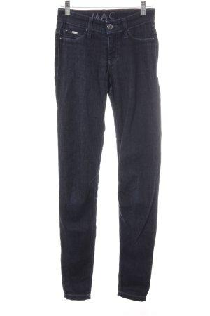 Mac Slim Jeans dunkelblau-stahlblau Logo-Applikation aus Metall