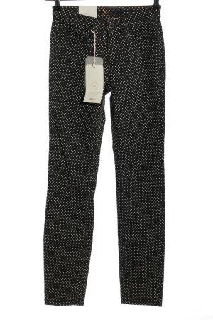 Mac Slim Jeans schwarz-weiß Punktemuster Casual-Look