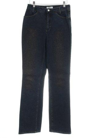 Mac Jeansy z prostymi nogawkami ciemnoniebieski Błyszczący