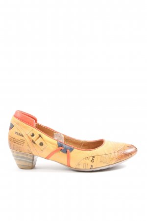 Maciejka High-Front Pumps light orange-black allover print elegant