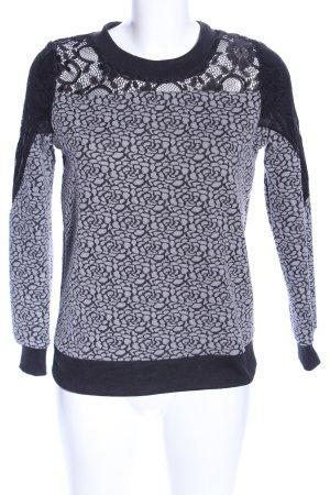 Madam Rage Sweatshirt hellgrau-schwarz Allover-Druck Casual-Look
