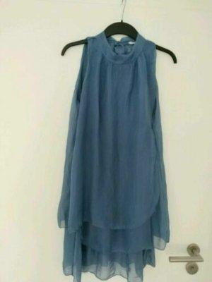 Made in Italy 100% Seide Kleid Gr 34 XS Blau Neckholder