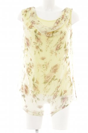 Made in Italy ärmellose Bluse gelb-beige florales Muster Casual-Look