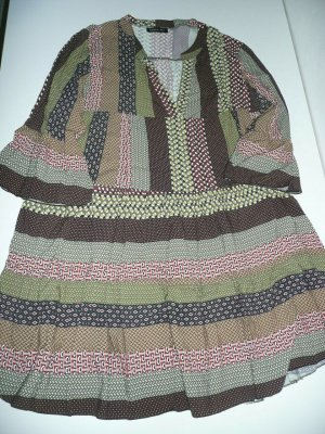 Made in Italy Blogger Influencer V-Neck Kleid Tunikakleid Muster Mix Viskose