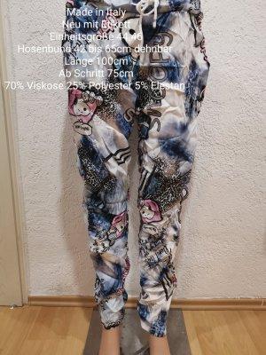 Made in Italy Pantalone bloomers bianco-blu