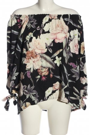 Made in Italy Carmen blouse zwart-wolwit volledige print casual uitstraling