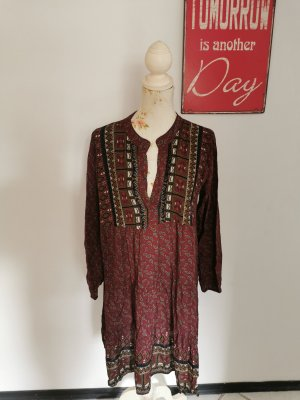 Made in Italy Damen Boho Kleid Langarmkleid Stiefelkleid weinrot Größe 40