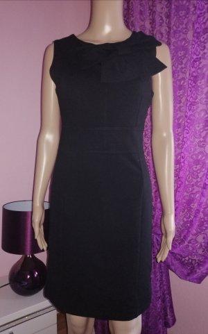Made in Italy Damen Jersey Kleid mit Schleife schwarz Gr. S 34/36