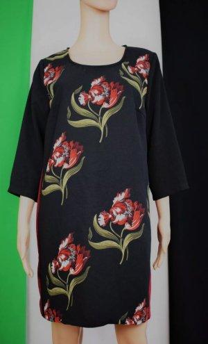 Made in Italy Damen Kleid gemustert Kontrastsreifen Gr.XL 40