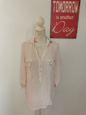 Made in Italy Blouse en crash argenté-rose clair viscose