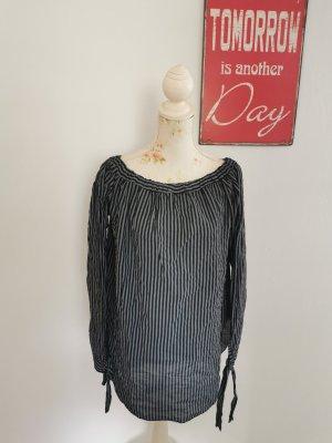 Made in Italy Damen Schlupfbluse Tunikabluse gestreift grau schwarz Größe 42/44