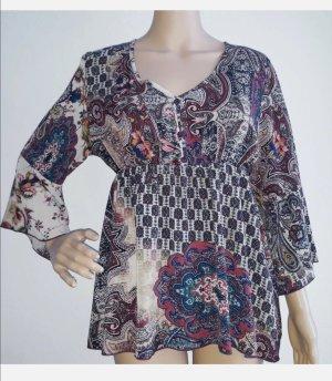 Made in Italy Damen Tunika Bluse Chiffon gemustert Gr.L 38/40