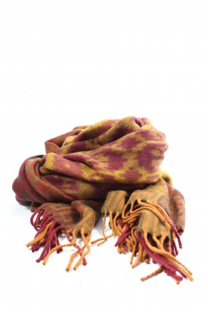 Made in Italy Fringed Scarf light orange-pink graphic pattern casual look