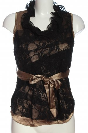Made in Italy Blusa brillante marrone-nero elegante