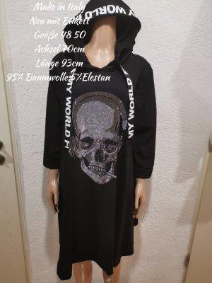 Made in Italy Glitzer Totenkopf Kleid