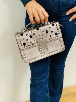 Made in Italy Handtasche mit Nieten schwarz beige Bronze