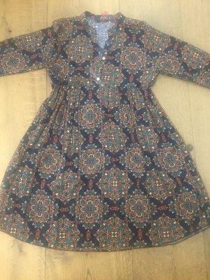Made in Italy Hemdblusenkleid / Kleid Onesize blau Blumen Muster