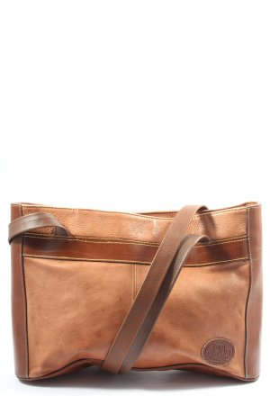 Made in Italy Schultertasche hellorange-braun Casual-Look