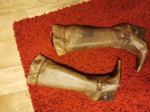 Made in Italy Keilstiefel in beige Gr. 39 Leder und sehr hoher Neupreis!