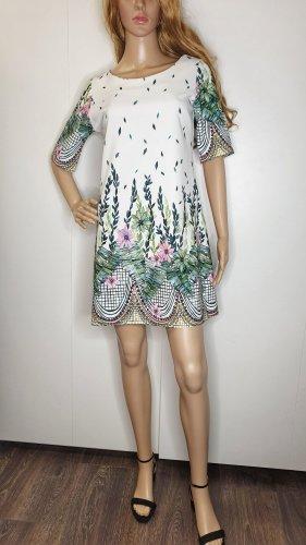 Made In Italy Kleid S Blumen Floral Bordüre Farn Ranken Weiß Grün Impressionen